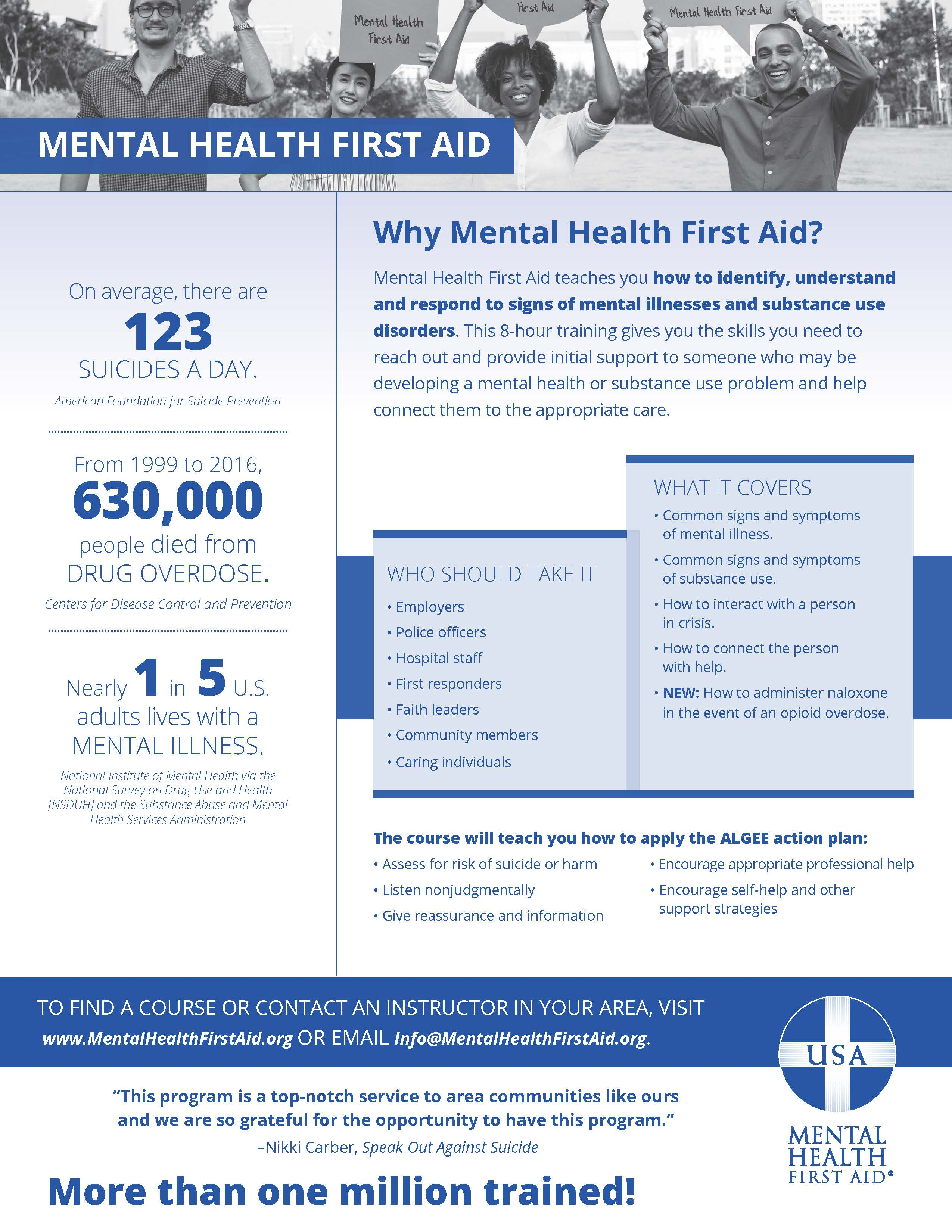 Mental Health First Aid - One Pager